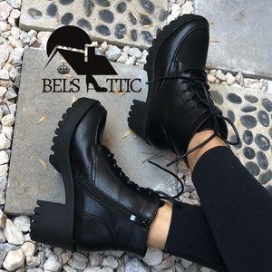 Black Vegan Leather Lug Sole Lace Up Combat Boots